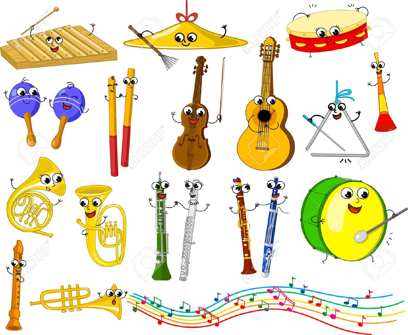 Set Of Funny Cartoon Musical Instruments For Kids Royalty Free.