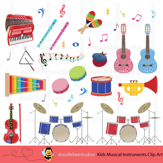 Colorful Musical Instruments Clipart, Kids Musical Instruments.