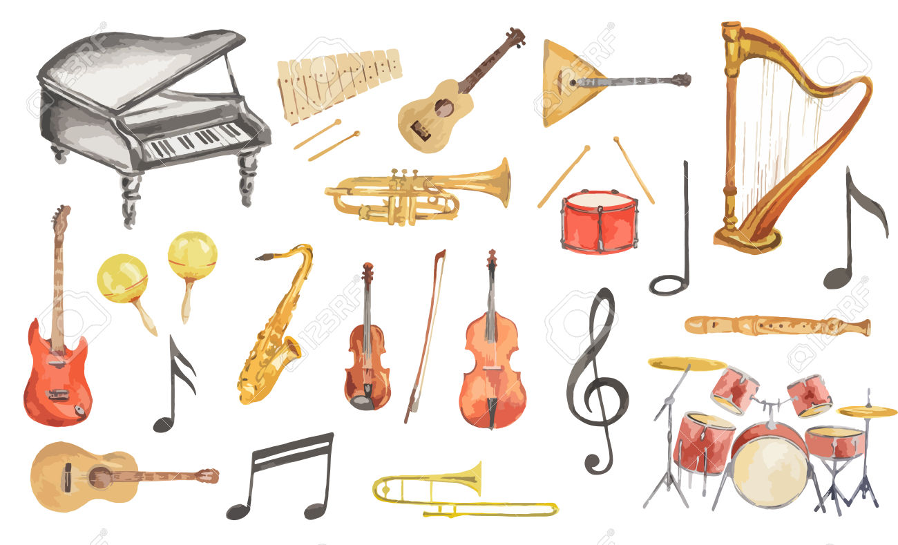 Watercolor Musical Instruments Set. All Kinds Of Instruments.