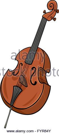 Cartoon Illustration Of Double Bass Musical Instrument Clip Art.