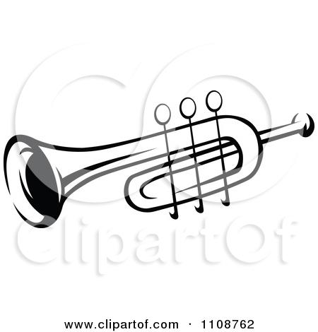 Clipart of a Cartoon Trumpet.