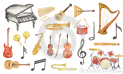 Watercolor Musical Instruments Set. Stock Vector.