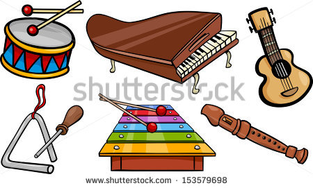 Cartoon Illustration Musical Instruments Objects Clip Stock Vector.