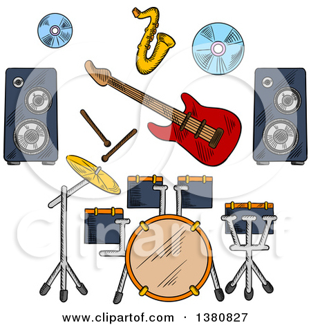 Clipart of a Musician Man in Tailcoat, Surrounded by Electric.