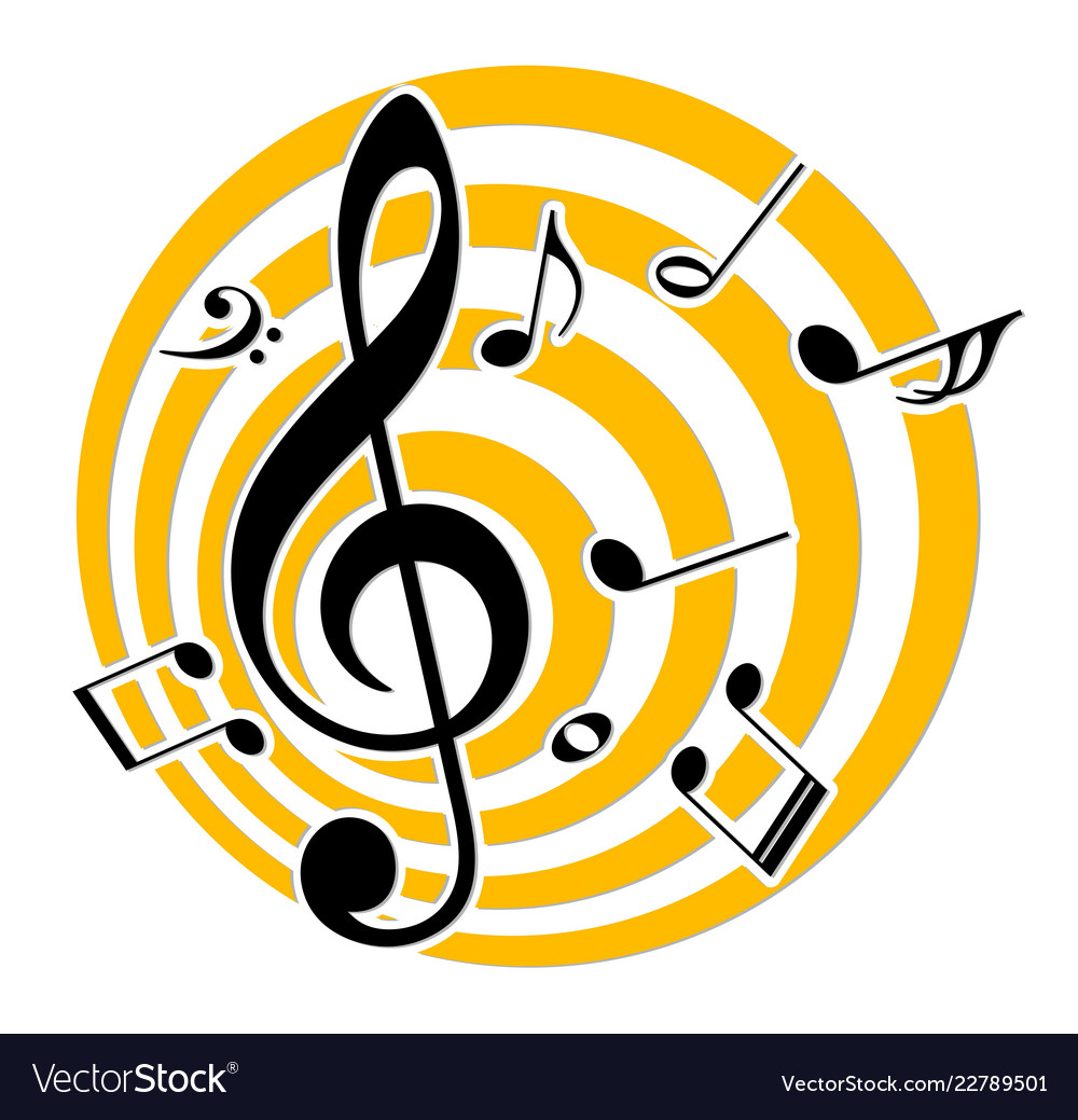 Logo with music notes.