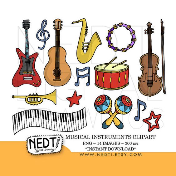 Musical Instruments Doodle Clip Art Set PNG by Nedti www.nedti.