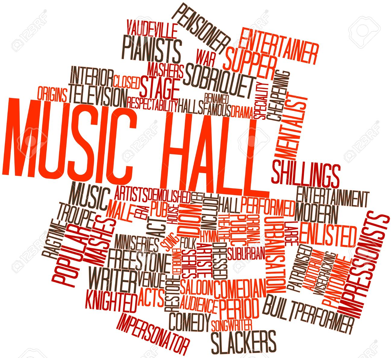 Abstract Word Cloud For Music Hall With Related Tags And Terms.
