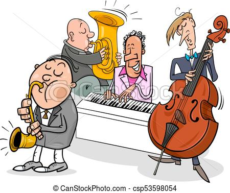musicians characters playing jazz music.