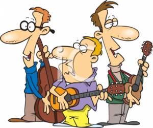 Cartoon Clipart Picture of Three Piece Band.