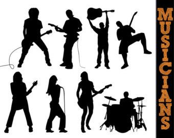 Musician silhouette clip art.
