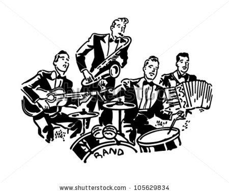 Big Band Drums Horns Retro Clipart Stock Vector 78889762.