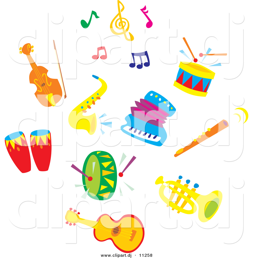 Larger Preview Vector Clipart Of Sax Accordion Colorful Music.
