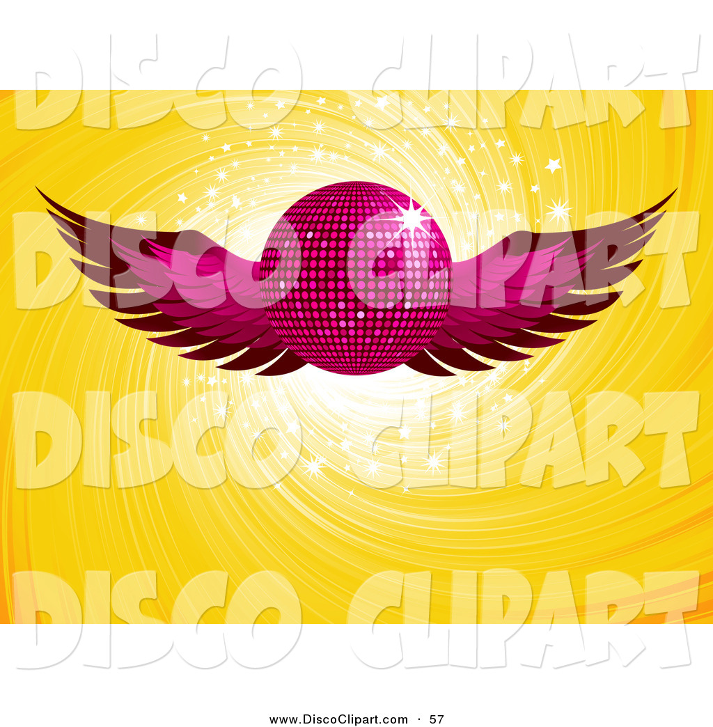 Larger Preview Vector Music Clip Art Of A Shiny Pink Winged Disco.