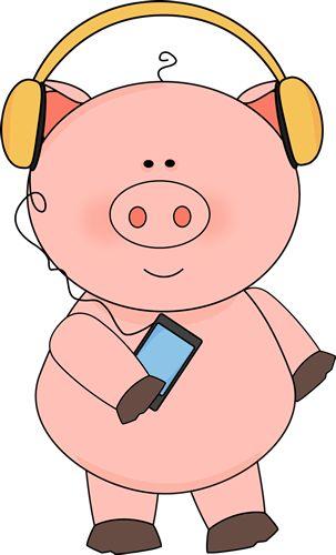 Pig Listening to Music.