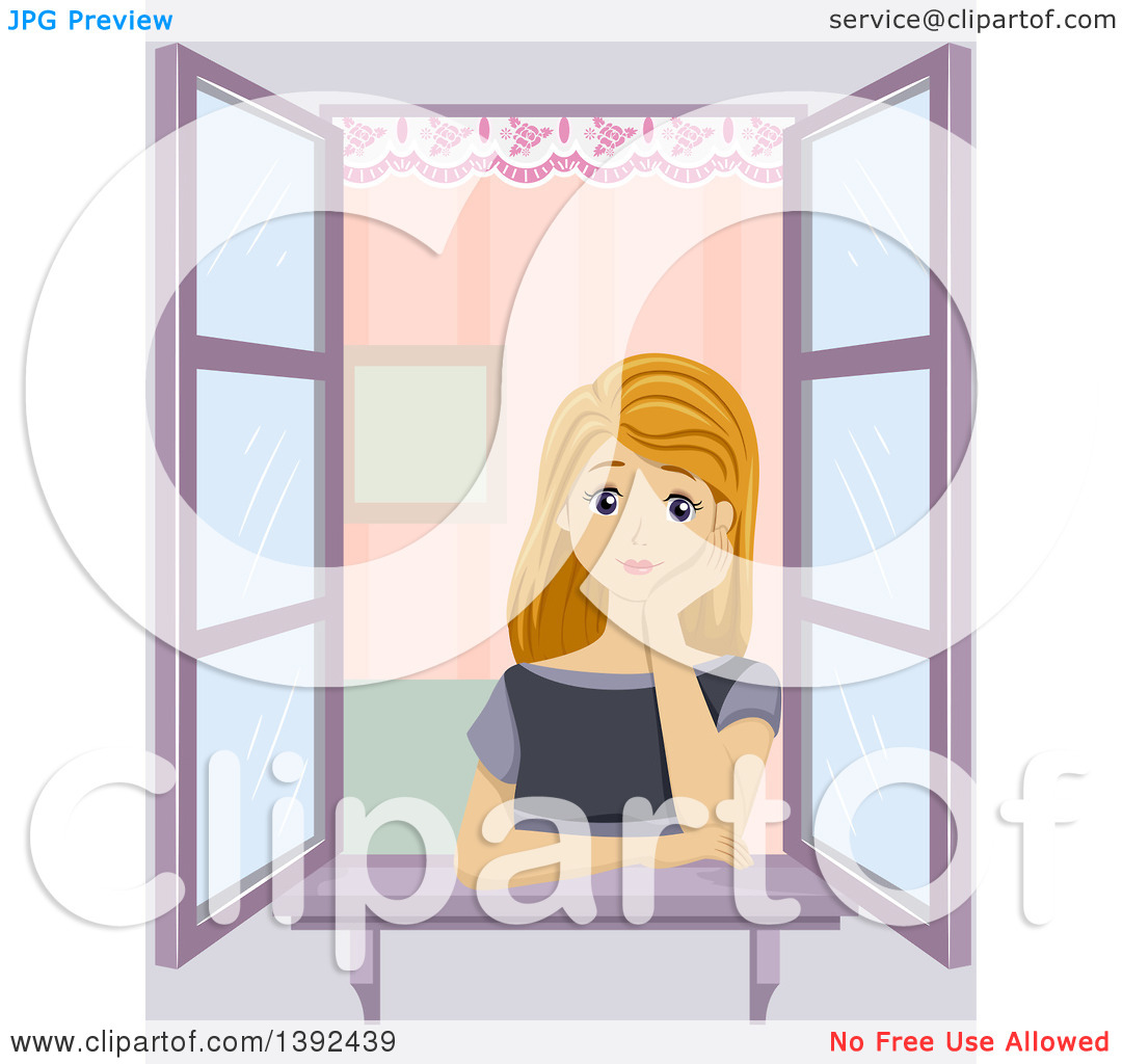 Clipart of a Blond White Girl Musing at a Window.