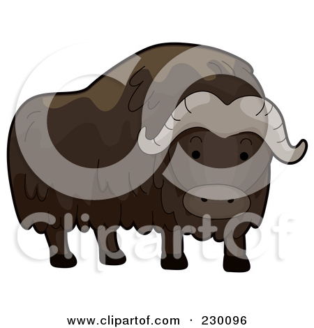 Clipart Vintage Black And White Musk Ox.