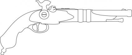 Outline Fire Gun Arms Historic Weapon Revolver Pistol Musket clip.