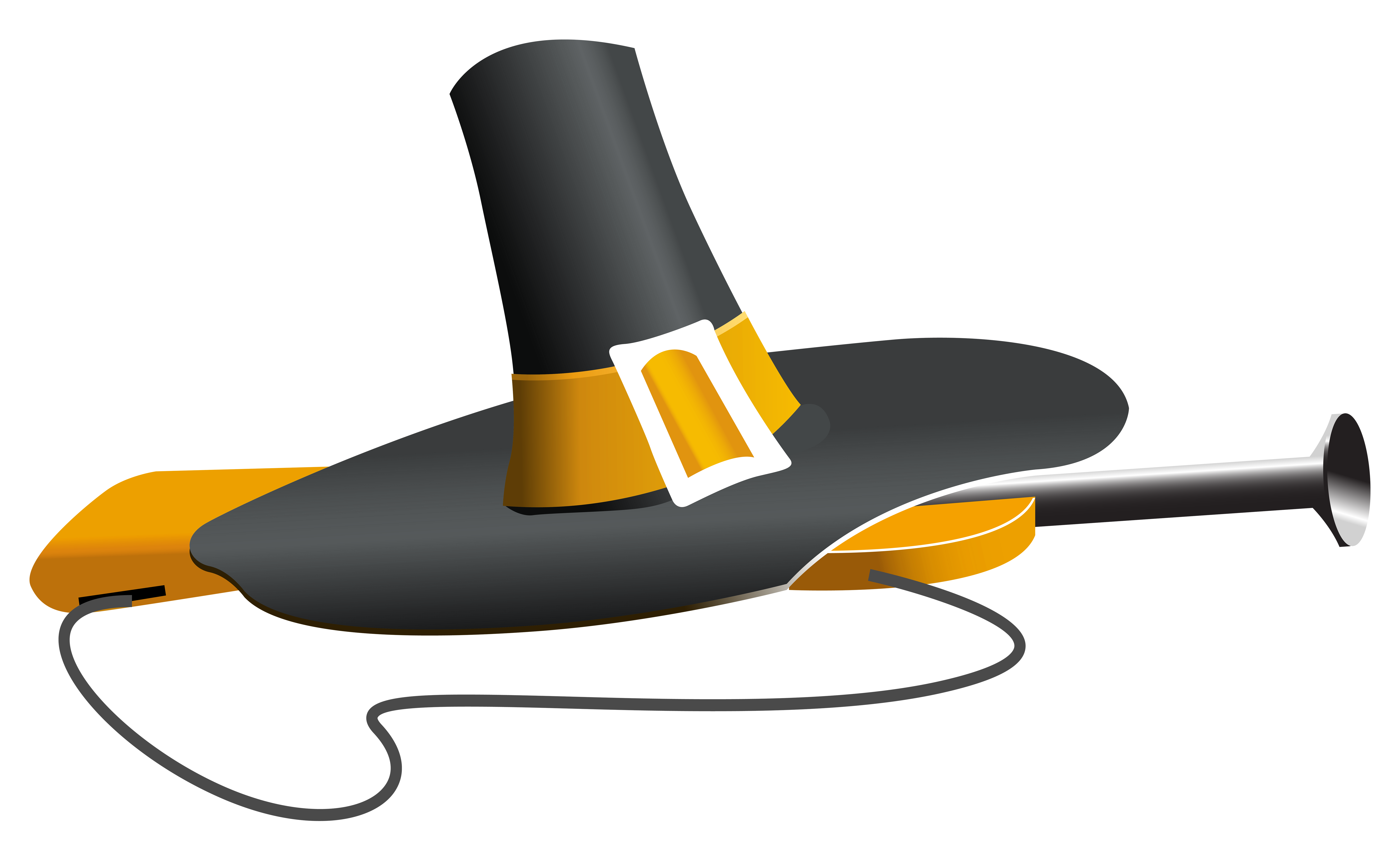 Pilgrim Hat and Musket PNG Clipart Image.