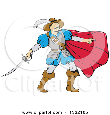 Clipart of a Cartoon Musketeer with a Cape, Pointing and Holding a.