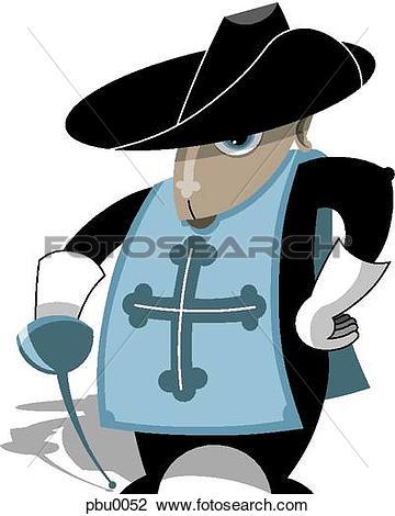 Clip Art of musketeer pbu0052.