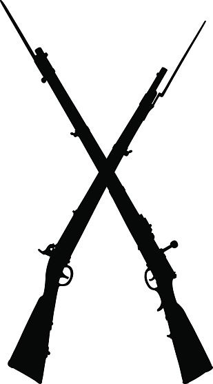 Silhouette Of A Old Muskets Clip Art, Vector Images.