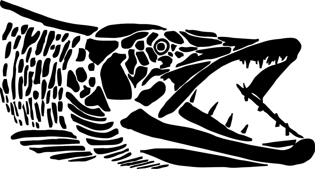 Muskie Head, Graphic Style Esox Fishing Decal.