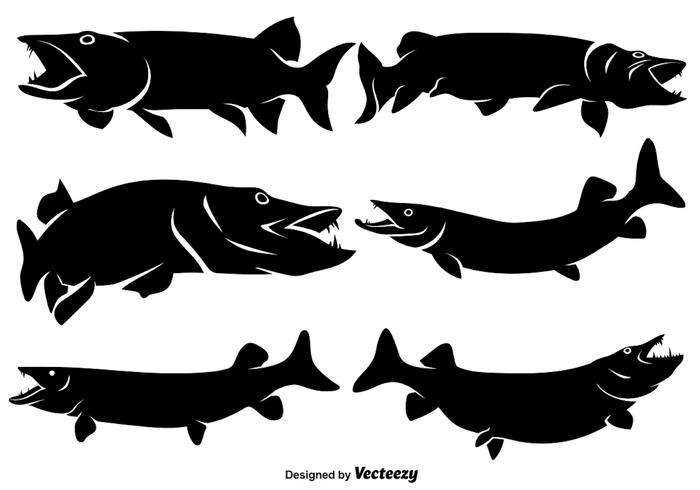 Vector Flat Muskie Icons/Silhouettes.
