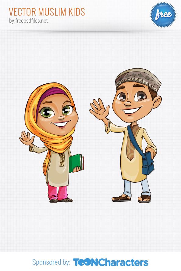 Vector Illustration Of Happy Muslim Kid Cartoon Colourbox Clipart.