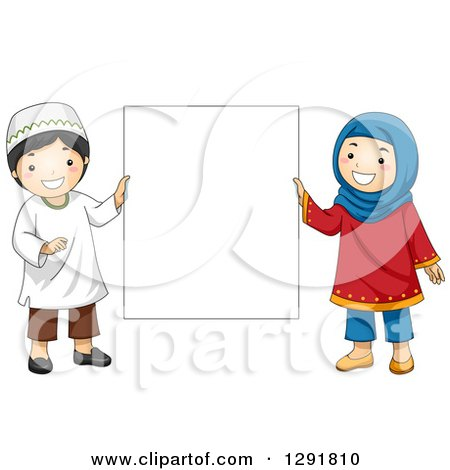 Cartoon of a a Group of Muslim Children Around a Sign.