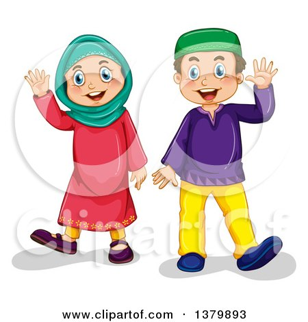 Clipart of a group of muslim children on a rainbow.