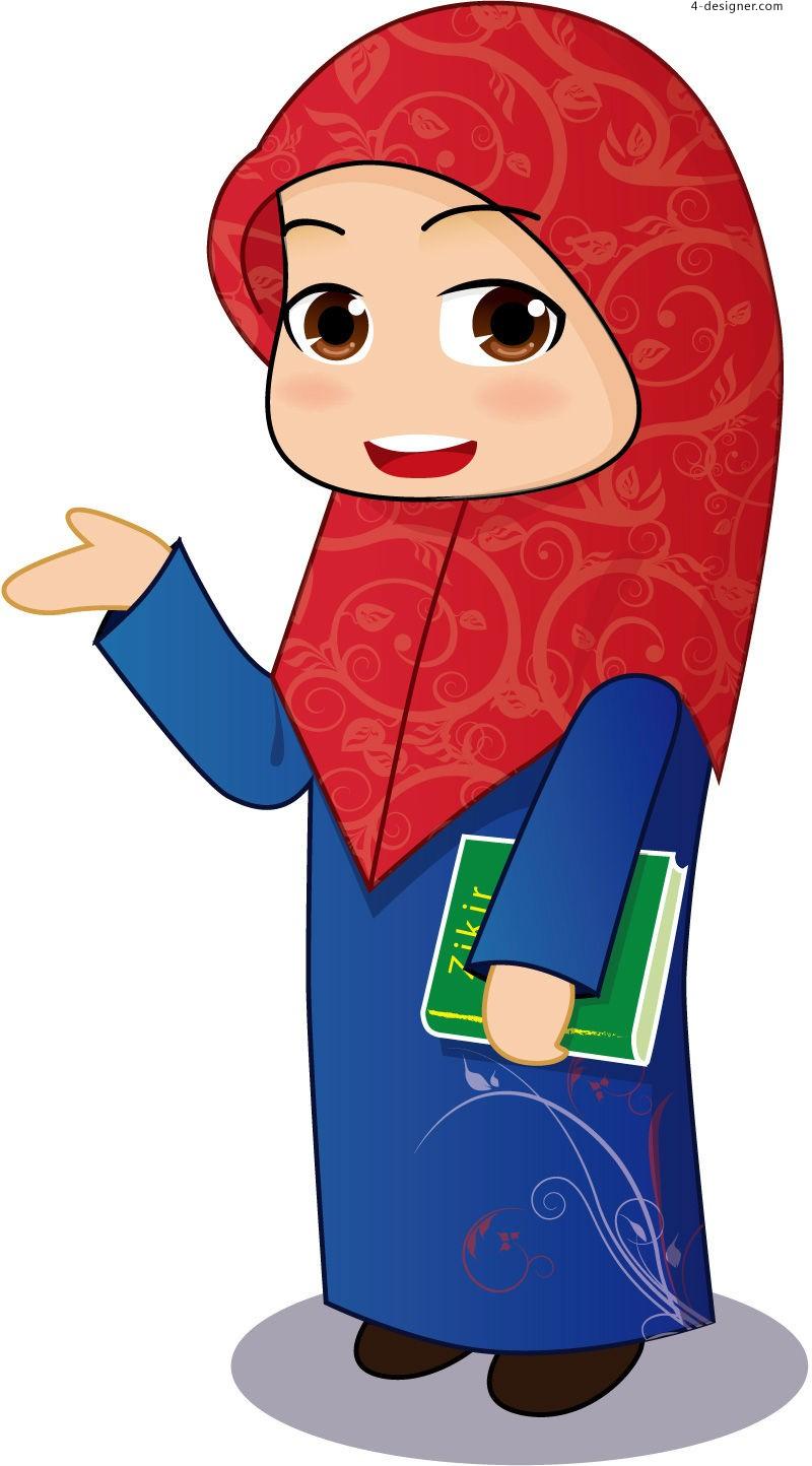 muslim child vector.