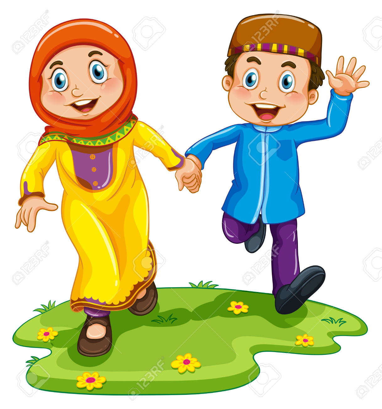 Muslim Boy And Girl Holding Hands Royalty Free Cliparts, Vectors.