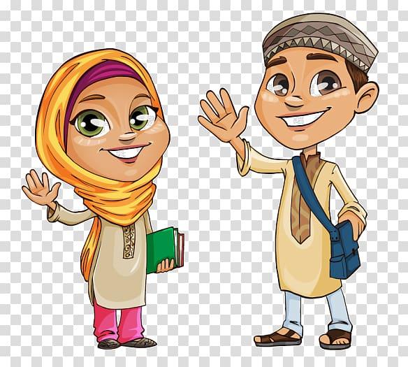 Man and woman , Quran Islam Muslim , kids cartoon.