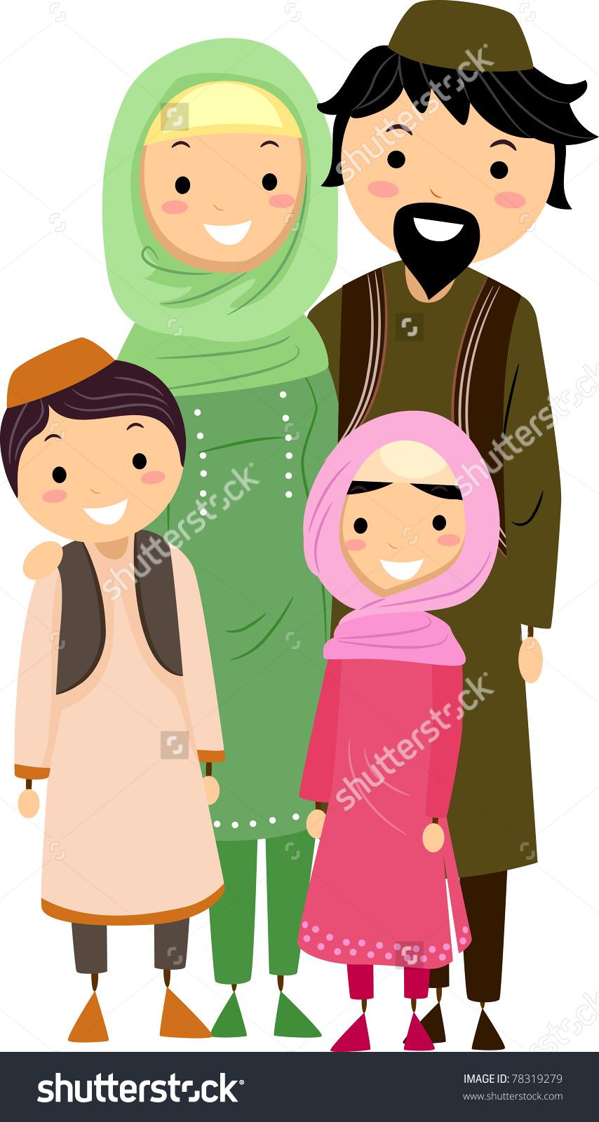 Illustration Muslim Family Stock Vector 78319279.