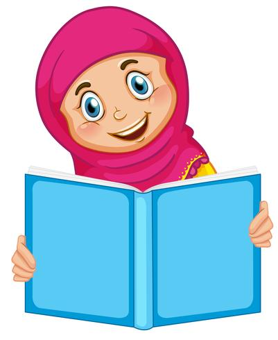 A muslim girl reading a book.