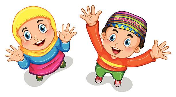Clip Art Of Muslim Child Clip Art, Vector Images & Illustrations.