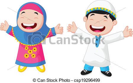 Clipart Vector of Happy Muslim kid.