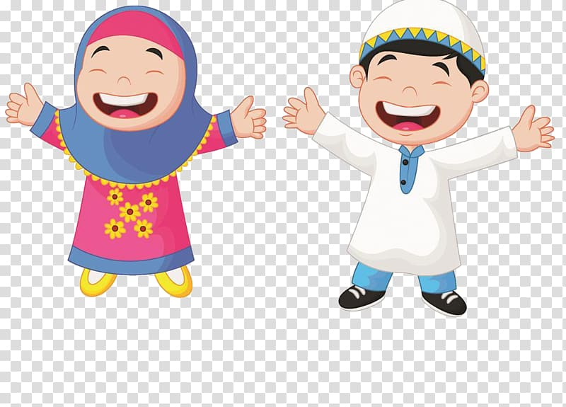 Muslim Cartoon Child Illustration, Muslim students, boy and.