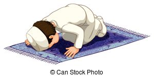 Vector Clip Art of Muslim praying.