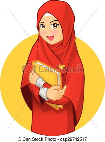 Vector Clip Art of Muslim Woman with Hugging a Book.