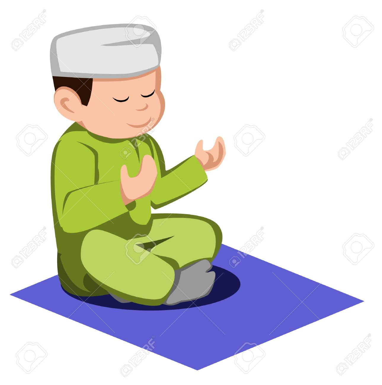 Muslim boy praying clipart.