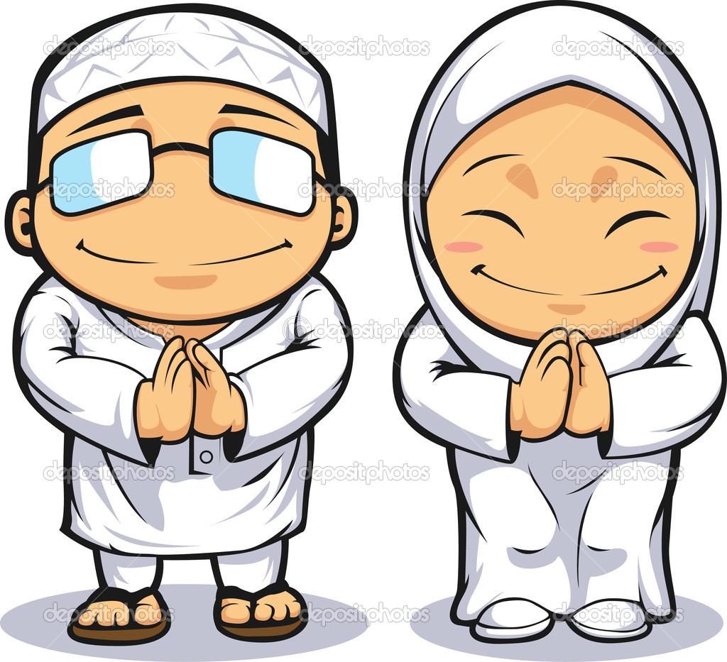 Muslim Teacher Cartoon Clipart.