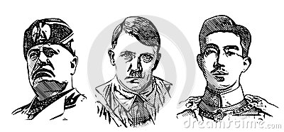 Mussolini, Hitler And Hirohito Portraits Editorial Stock Image.