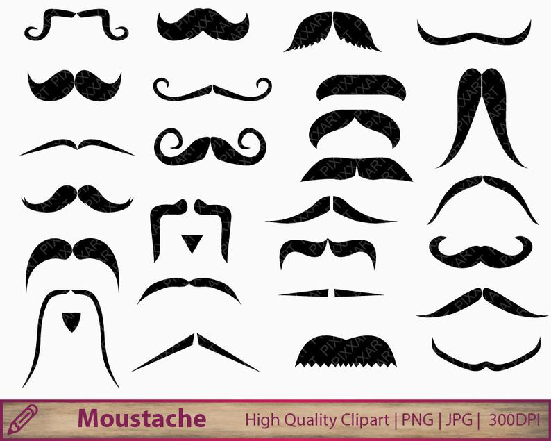 Moustache clipart, mustache clip art, movember graphics, scrapbooking,  commercial use, digital instant download, png jpg 300dpi.