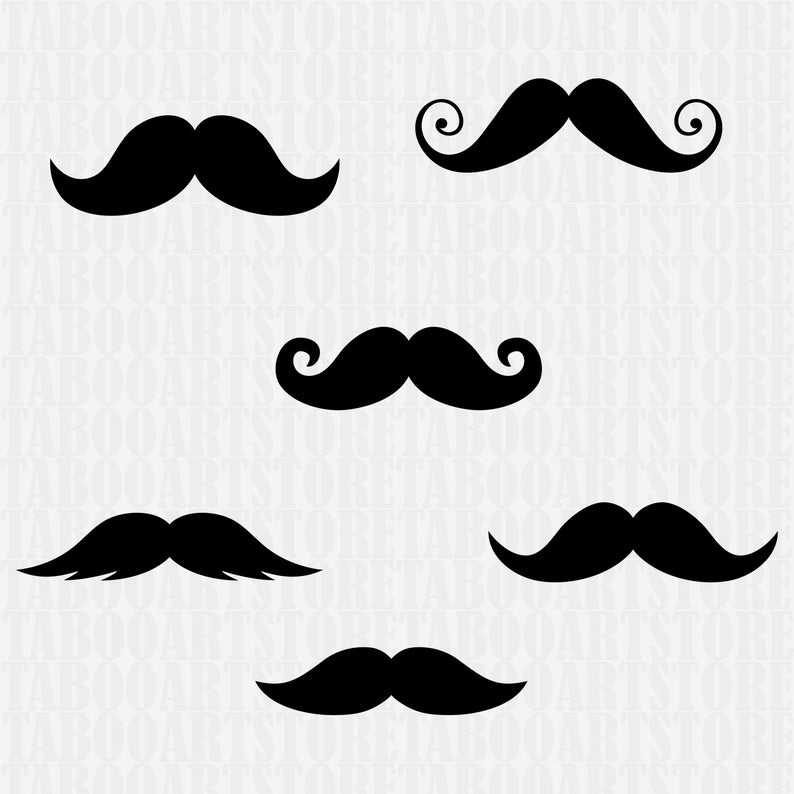 Mustache svg file, mustache clipart, Mustaches silhouette file, cricut  design, mustache vector clipart, mustache set files, mustache eps.