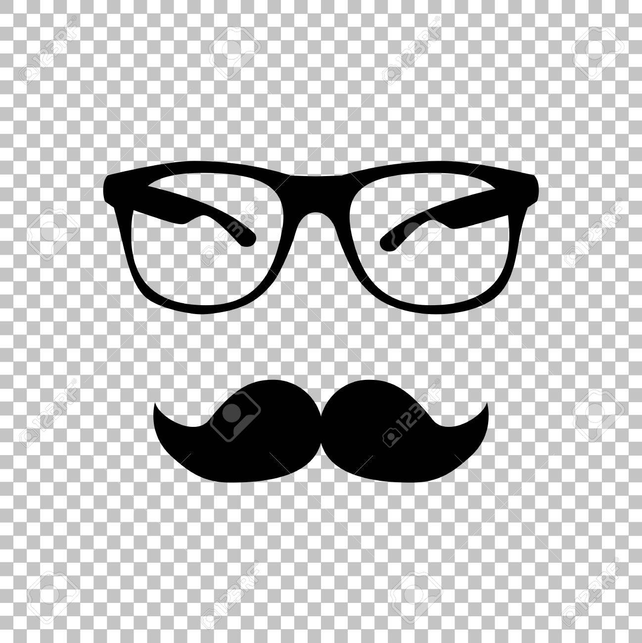 Mustache and Glasses sign. Flat style icon on transparent background.