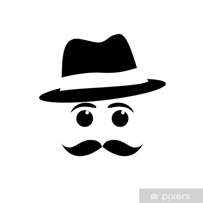 Logo mustache and hat # Vector Wall Mural.