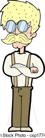 Clip Art Vector of cartoon hipster man with mustache and.