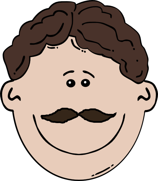 Smiling Mustache Man Clip Art at Clker.com.