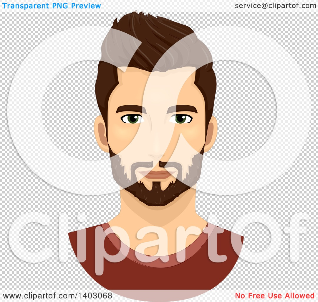 Clipart of a Brunette Caucasian Man with a Groomed Beard and.